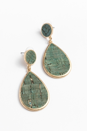 Cork Teardrop Earrings, Teal