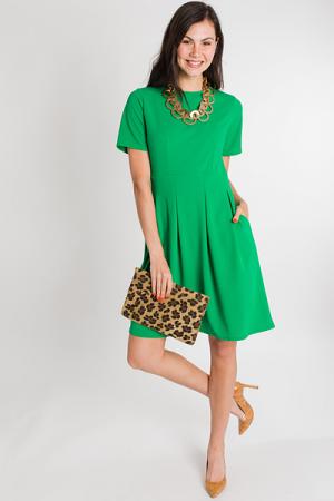 Pleated Skirt Dress, Green