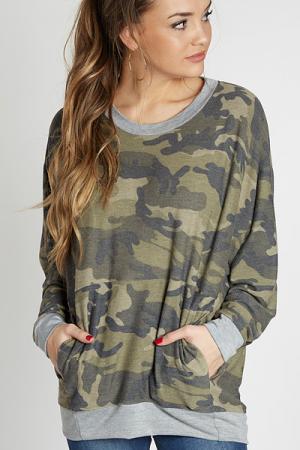 Camo Contrast Sweatshirt