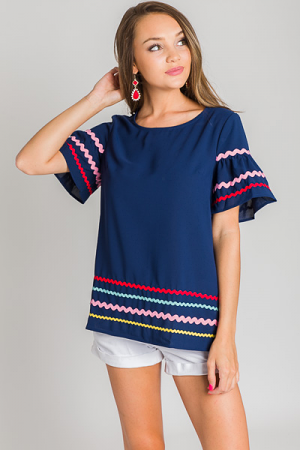 Short Sleeve Ric Rac Blouse, Navy
