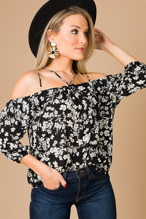Floral First Date Top, Black