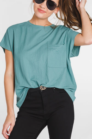 Basic Pocket Tee, Seafoam