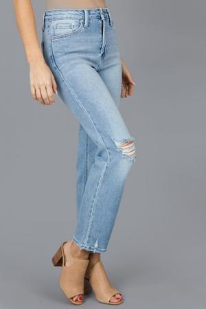 Distress Straight Jeans, Light
