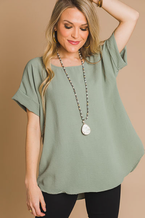 Brittany Basic Blouse, Sage