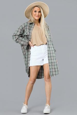 Plaid Flannel Shirt Dress, Sage