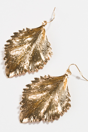 Leaf Hook Earring, Gold