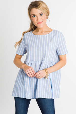 Babydoll Blue Stripe Top