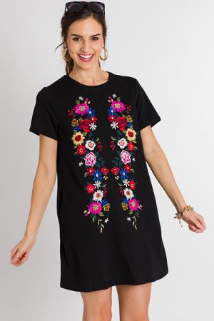 Embroidered T-Shirt Dress, Black