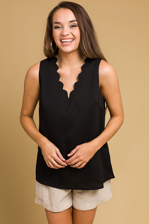 Scalloped Neck Tank, Black