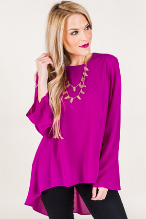 High Low Zipper Blouse, Magenta