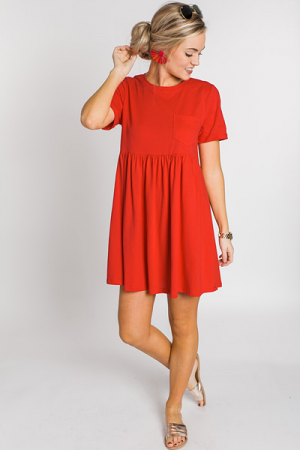 Throwback Babydoll Dress, Tomato