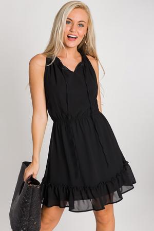 Neck Tie Flounce Dress, Black