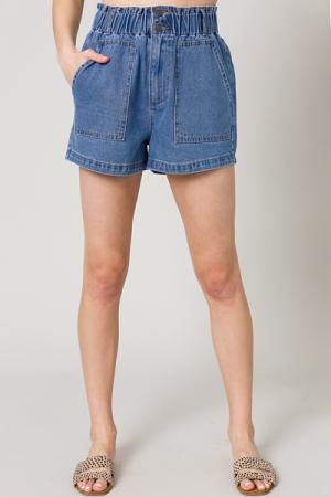 Elastic Waist Denim Shorts, Medium