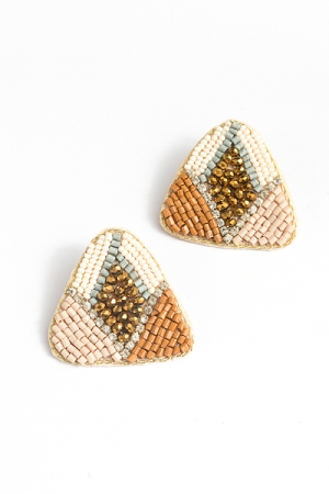 Triangle Bead Earrings, Lt. Brown