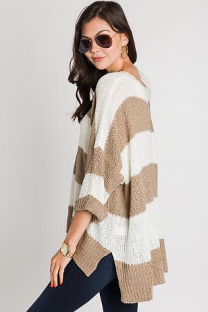 Cuff Sleeve Stripe Sweater, Taupe