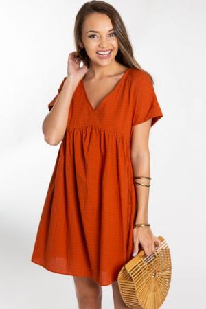 Steph Babydoll Dress, Rust