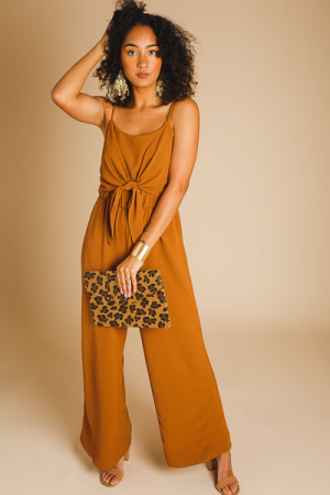 Toffee Front Tie Jumpsuit