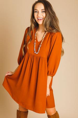 Smocked Shoulder Dress, Rust