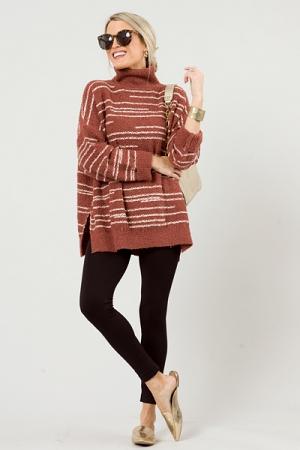 Thread Stripe Sweater, Rosy Brown