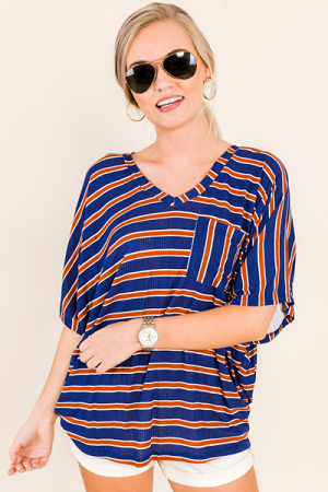 Stacy Striped Tee, Navy Rust