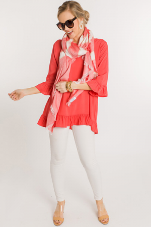 Riley Ruffle Tunic, Coral