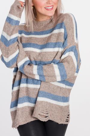 Distress Stripe Sweater, Blue