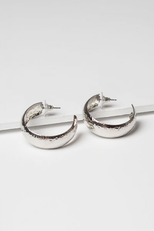 Small Hammered Hoops, Silver