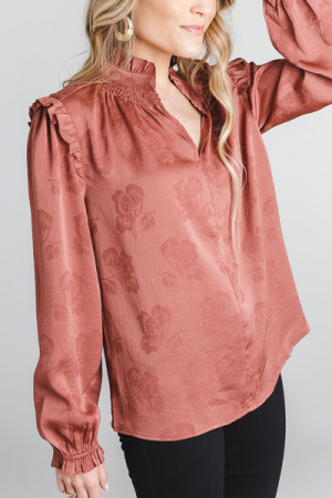 Fall Floral Blouse, Rust