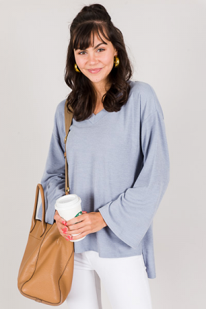 Bell Sleeve Tunic, Blue
