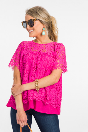 Layered Lace Blouse, Pink
