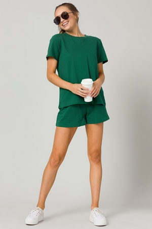 Green Sweats Shorts Set