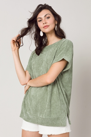 Chenille SS Pullover, Sage