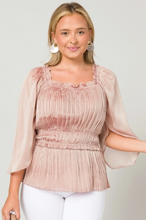 Frose Shimmer Pleated Top