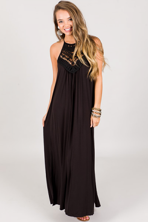 Crochet Touch Maxi, Black