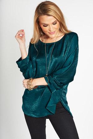 Cuffed Sleeve Satin Top, Green