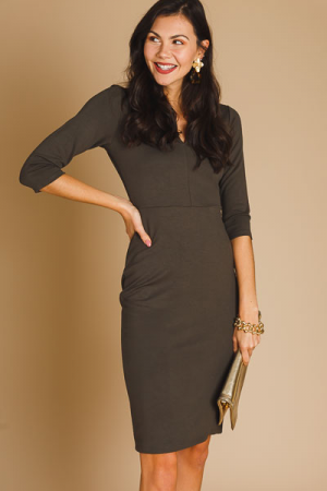 Olive Tree Knit Midi Dress