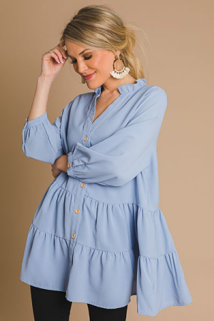Tiered Button Blouse, Blue