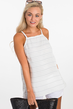 Textured Stripes Cami, White