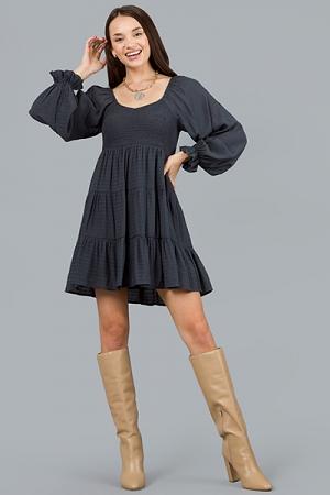 Riley Smocked LS Dress, Charcoal