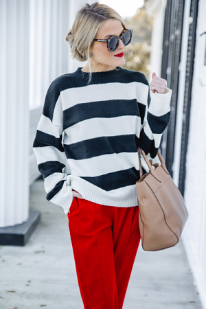 By My Stripe Sweater, Black