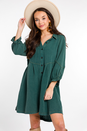 Briana Button Dress, Forest