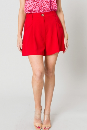 Red Pleat Front Shorts