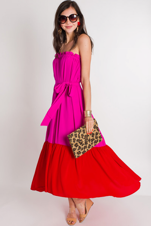 Feel the Flame Strapless Dress