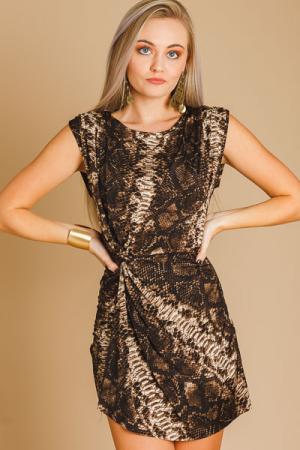 Knot Front Snake Dress