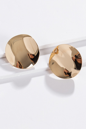 Curved Plate Earring, Gold