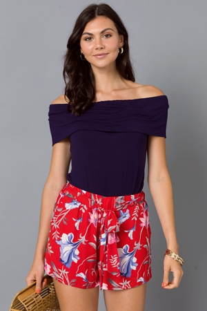 Red Floral Belted Shorts