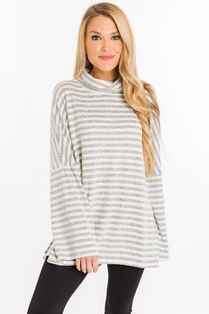 Striped Turtleneck, Grey