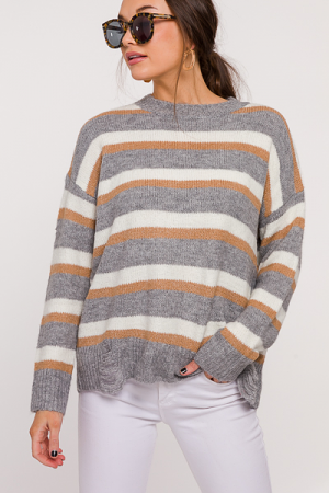 Distress Stripe Sweater, Grey