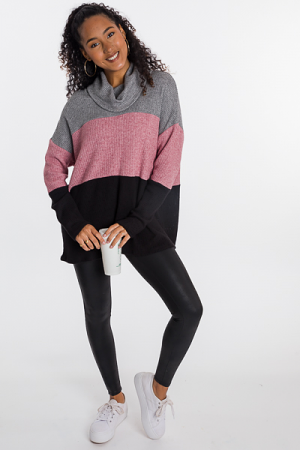 Color Block Cowl Tunic, Black/Pink