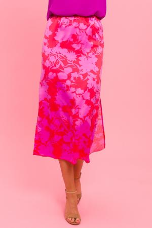 Floral Love Satin Skirt, Red